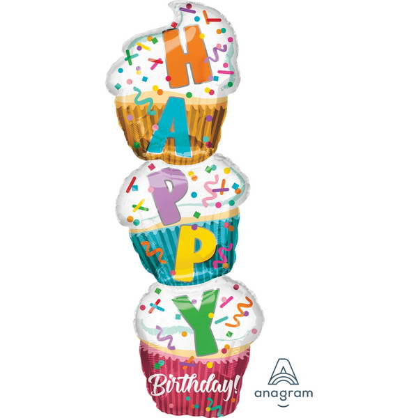 Birthday Balloons - Anagram 41 Inch Birthday Stacked Cupcake Foil Balloon