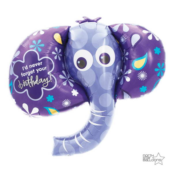 Birthday Balloons - Northstar 42 Inch Birthday Elephant Foil Balloon