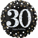 "Anagram Age 30 Sparkling Gold 18"" Inch Birthday Balloon"