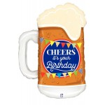 Betallic 34 Inch Cheers Birthday Beer SuperShape Balloon