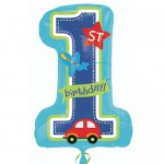 Anagram 28 Inch All Aboard Boy 1st Birthday SuperShape Balloon