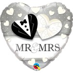 Qualatex 18 Inch Mr. And Mrs. Wedding Heart Foil Balloon