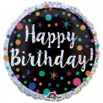 Anagram 17 Inch Birthday Dots & Stars Holographic Foil Balloon