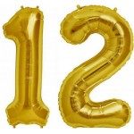 Mytex 30 Inch 1 and 2 Number Balloon ~ Gold and Silver