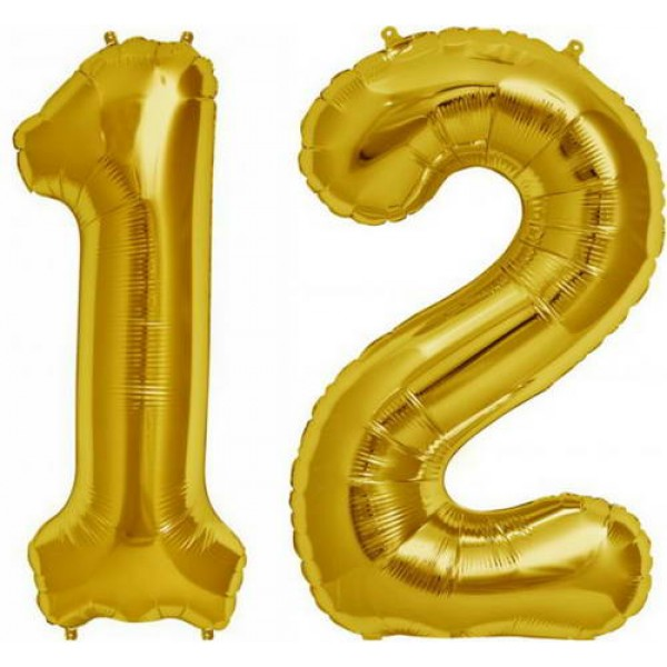 Numbers Balloons - Mytex 30 Inch 1 and 2 Number Balloon ~ Gold and Silver