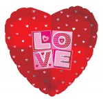 CTI 17 Inch Love Squares Heart Shape Foil Balloon