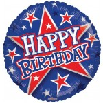 Conver USA 18 Inch Birthday Red & Blue Stars Balloon