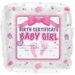 CTI 17 Inch Girl Birth Certificate Pink Balloon