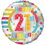 Conver USA 18 Inch Happy 21st Birthday Dots & Lines