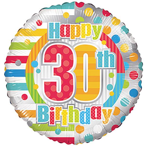 Birthday Balloons - Conver USA 18 Inch Happy 30th Birthday Dots & Lines