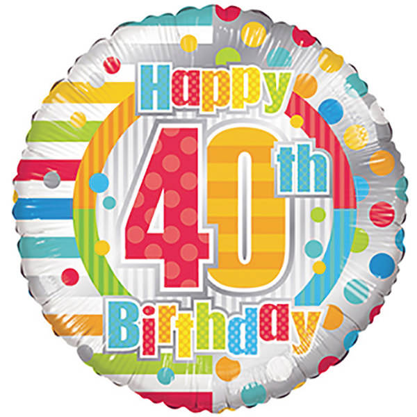 Birthday Balloons - Conver USA 18 Inch Happy 40th Birthday Dots & Lines
