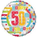 Conver USA 18 Inch Happy 50th Birthday Dots & Lines