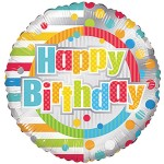 Conver USA 18 Inch Happy Birthday Dots & Lines
