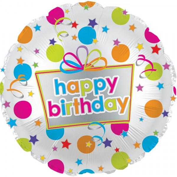 Birthday Balloons - CTI 17 Inch Happy Birthday Colorful Dots Balloon