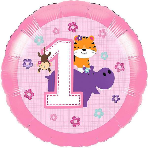 Birthday Balloons - CTI 17 Inch One is Fun Pink 1st Birthday Balloon