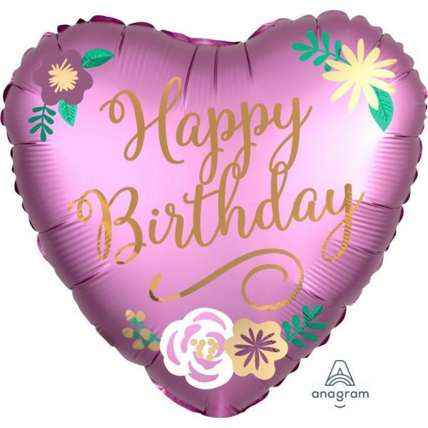 Anagram 18 Inch Heart Shape Birthday Satin Flowers