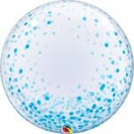 Qualatex 24 Inch Blue Confetti Dots Deco Bubble Balloon