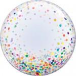 Qualatex 24 Inch Colorful Confetti Dots Deco Bubble Balloon