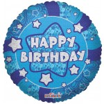 Conver USA 18 Inch Holographic Blue Happy Birthday Balloon