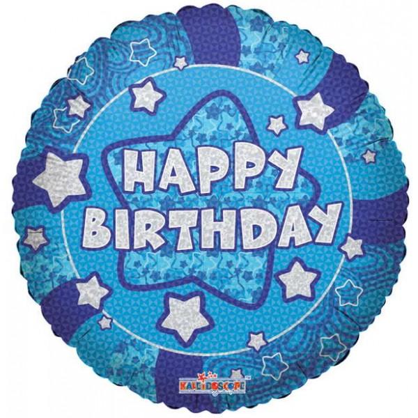 Birthday Balloons - Conver USA 18 Inch Holographic Blue Happy Birthday Balloon