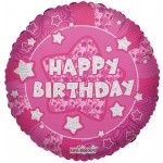Conver USA 18 Inch Holographic Pink Happy Birthday Balloon