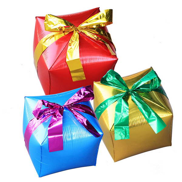 Christmas Balloons - Airfill 12 Inch Foil Cube Shape Gift Box