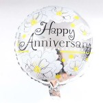 Mytex 17 Inch Happy Anniversary Flower Balloon ~ 2pcs