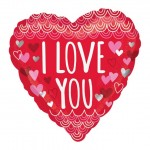 Mytex 17 inch I Love You Sketchy Scallops Heart Shape ~ 2pcs