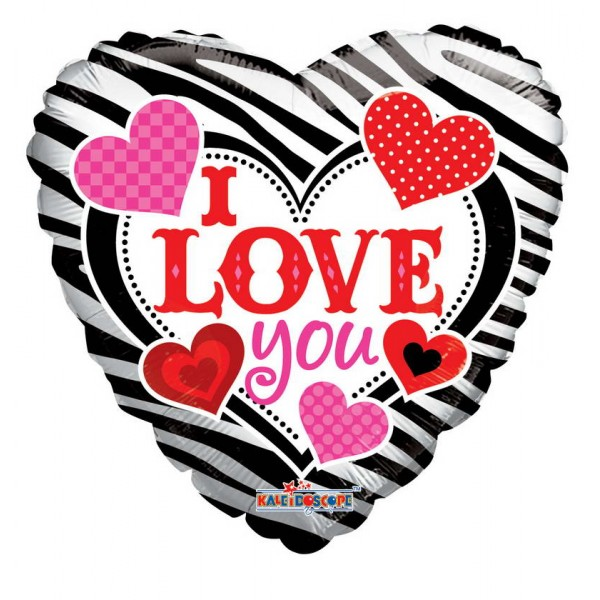 Love & Affection - Conver USA 18 Inch I Love You Zebra Pattern Balloon