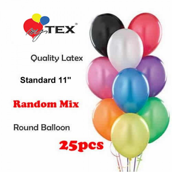 11 Inch Round Balloons - Mytex 11 inch Random Mix Color Round Balloons ~ 25pcs
