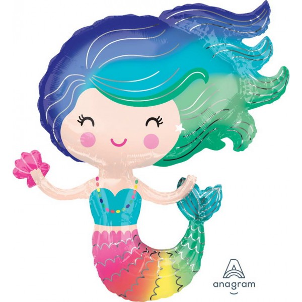 Character Balloons - Anagram 30 Inch Colorful Mermaid Foil Balloon