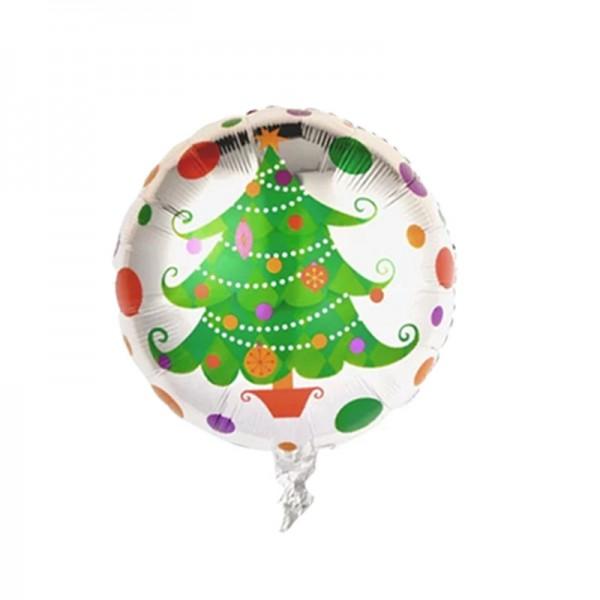Christmas Balloons - Mytex 17 Inch Christmas Tree Round Foil Balloon ~ 2pcs