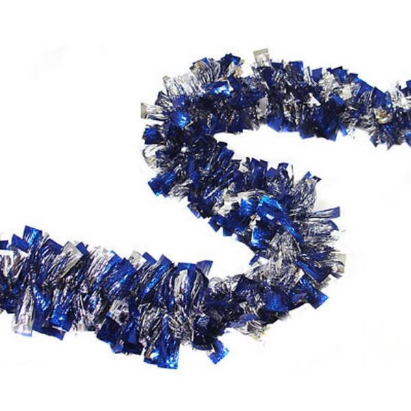 Christmas Items - Christmas Garland Blue and Silver Tinsel ~ 2m