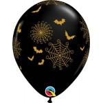 Qualatex 11 Inch Spider Webs & Bats Latex Balloons ~ 10pcs