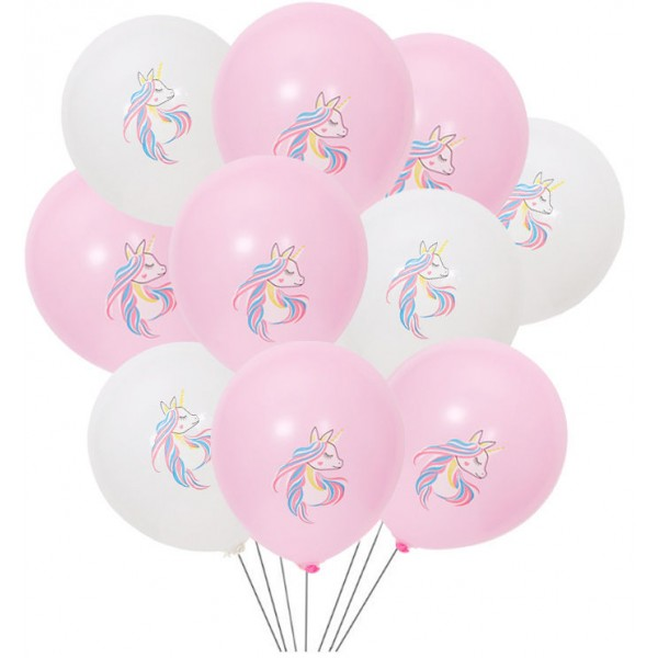 Children Balloons - 10 Inch Pink And White Side Face Unicorn Latex Balloons ~ 10pcs