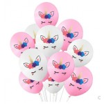 10 Inch Pink And White Front Face Unicorn Latex Balloons ~ 10pcs