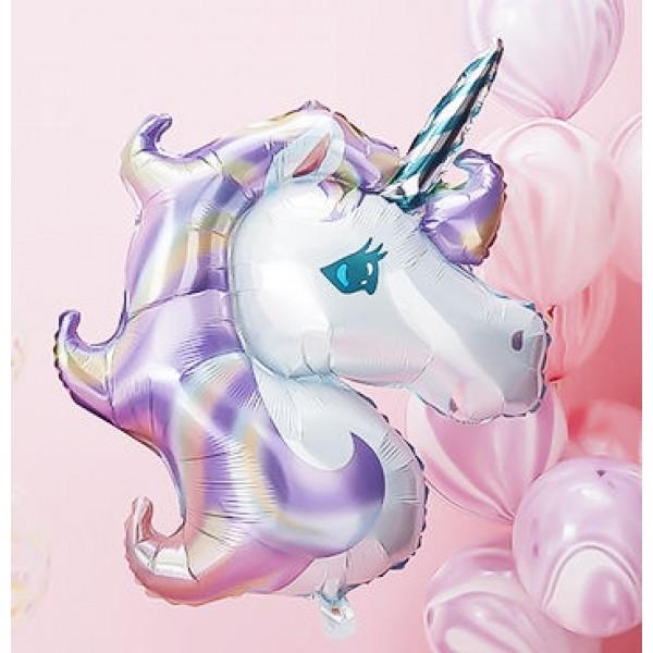Children Balloons - 33 Inch Pastel Purple Unicorn Head Foil SuperShape