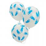 Mytex 12 Inch Baby Shower Blue Footprint ~ 15pcs