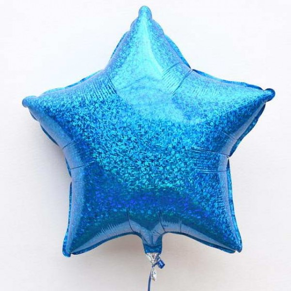 Stars Shape Balloons - Mytex 19 inch Blue Holographic Star Balloons ~ 2pcs