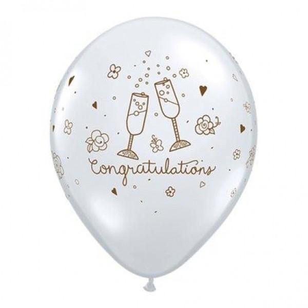 Wedding & Anniversary - Mytex 12 Inch Congratulations Wine Glass Latex Balloons ~ 15pcs