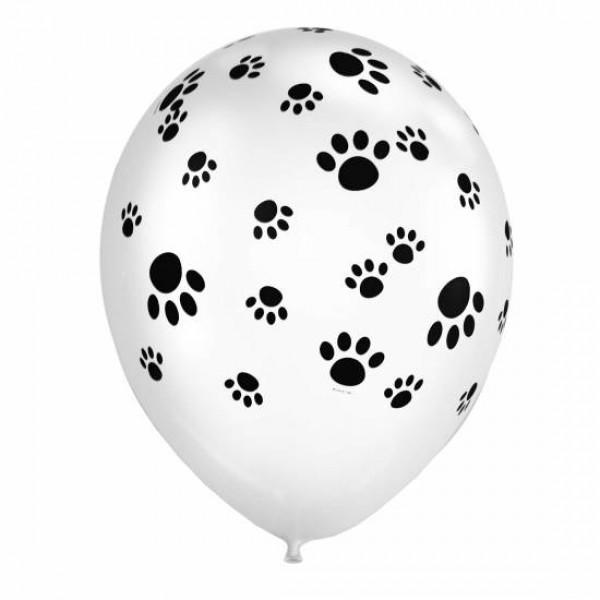 Children Balloons - Mytex 12 Inch Paw Print White Balloons ~ 15pcs