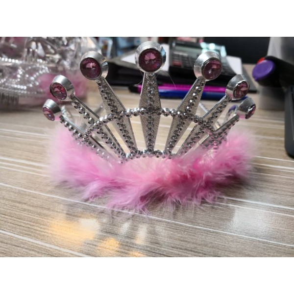 Tiara - Mytex Pink Feather Tiara For Girls