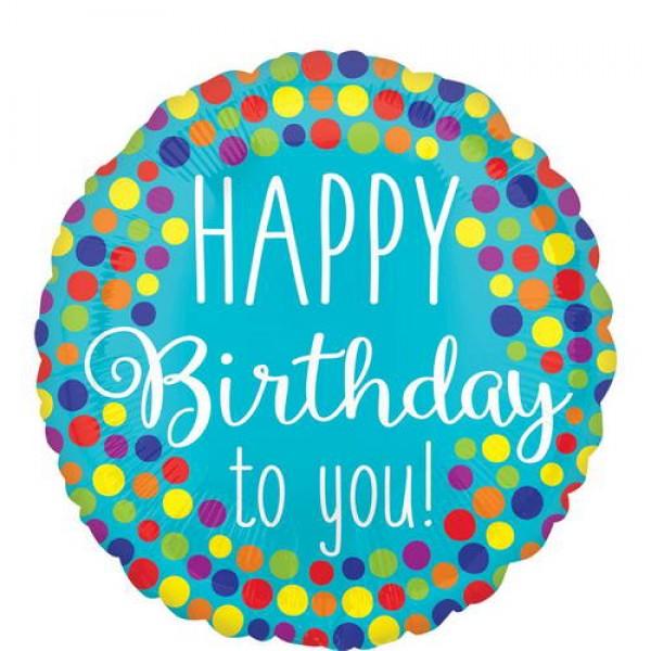 Birthday Balloons - Anagram 17 inch Happy Birthday To You Dots