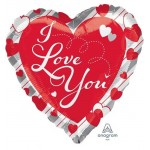 Anagram 17 Inch I Love You Red Hearts & Stripes Balloon
