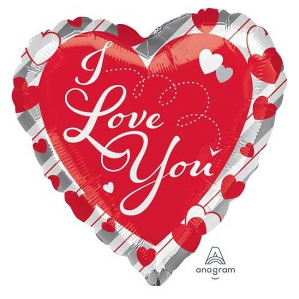 Love & Affection - Anagram 17 Inch I Love You Red Hearts & Stripes Balloon