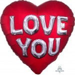 Anagram 28 Inch Satin Love You Letters Jumbo Shape Foil Balloon