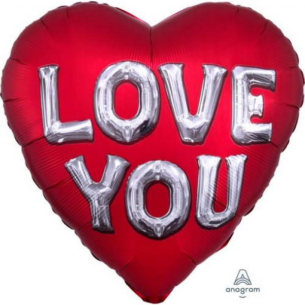 Love & Affection - Anagram 28 Inch Satin Love You Letters Jumbo Shape Foil Balloon