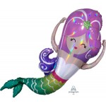 Anagram 32 Inch Iridescent Mermaid Holographic Foil Balloon