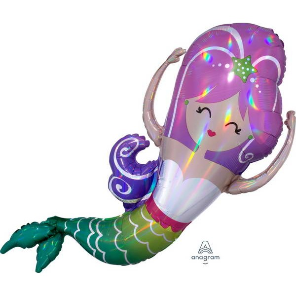 Movies, TV And Cartoon Characters - Anagram 32 Inch Iridescent Mermaid Holographic Foil Balloon