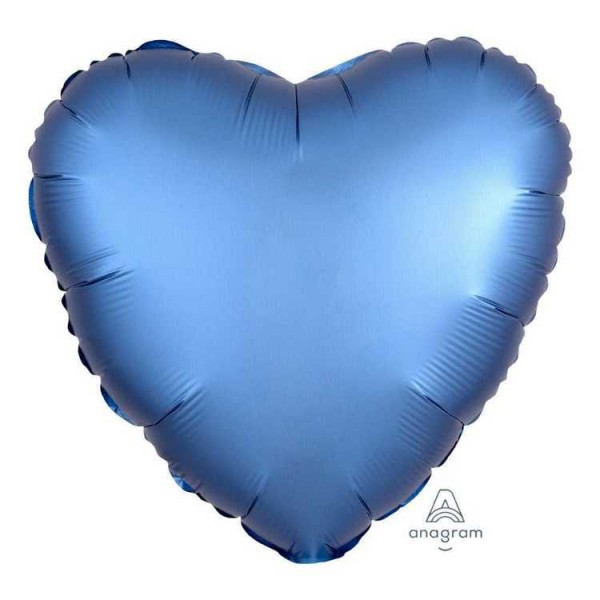 Heart Shape Balloons - Anagram 17 Inch Satin Luxe Azure Heart Shape